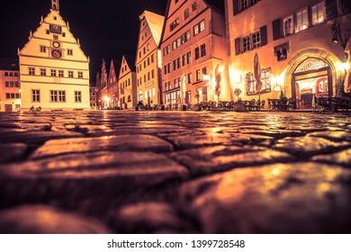 Night scene from historic Rothenburg ob der Tauber in Germany