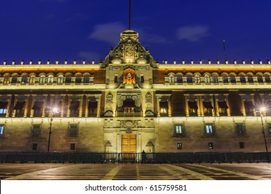 Night scene of the historical National Palace of Mexico City