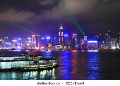 the Night scene of Hong Kong at 2010