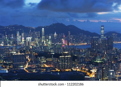 A night scene of Hong Kong City