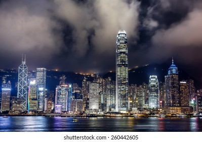 Night scene of Hong Kong Skyscrapers with neon lights