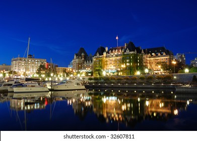 Night scene of the inner harbor and the famous empress hotel, downtown victoria, british columbia, canada