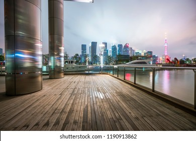 The night scene of an international financial center in Shanghai, China.