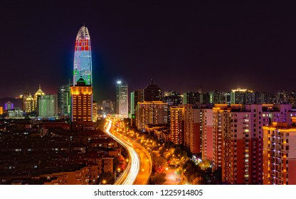 Night scene of Jinan Greenland Puli Center and Shunhe Elevated Road