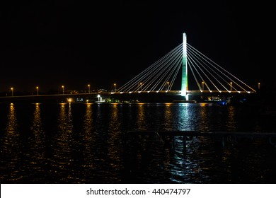Night scene of link bridge in Lagos City, Nigeria