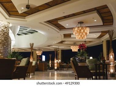 night scene of lobby bar at a tropical resort, sanya, hainan, china.
