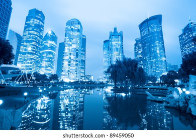 night scene of the lujiazui central greenbelt in shanghai,China