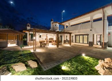 Night scene of luxury villa exterior