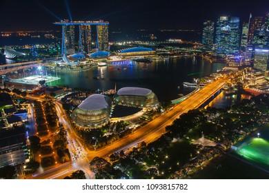 Night scene at Marina Bay Singapore city skyline