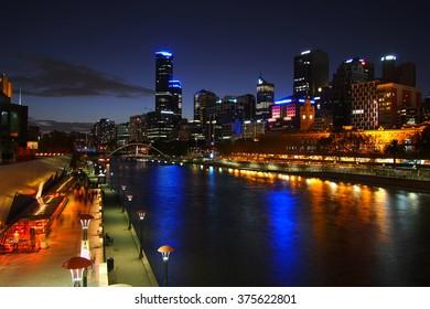 Night scene in Melbourne city.