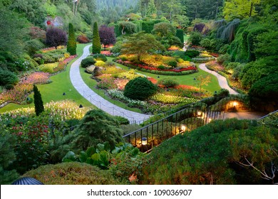 night scene of national historical site butchart garden, victoria, british columbia, canada