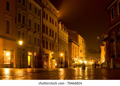 Night scene in old city, Krakow, Poland