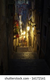 Night scene in old town of Dubrovnik city/ Croatia. High resolution image