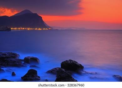 Night Scene of Pacific Ocean in North Taiwan