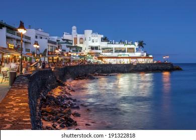 Night scene of the Playa Blanca resort, on the Lanzarote Island in the Canary Islands, Spain.