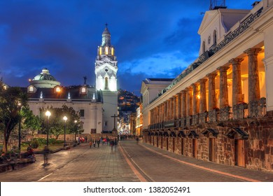 Night scene of Plaza Grande (Plaza de la Independencia) in Quito, Ecuador featuring Quito Cathedral and Carondelet Palace (Palacio de Carondelet), the seat of Ecuador government.