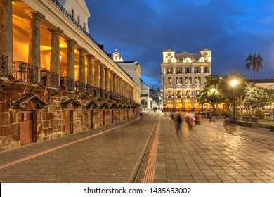 Night scene of Plaza Grande (Plaza de la Independencia) in Quito, Ecuador featuring Carondelet Palace (Palacio de Carondelet), the seat of Ecuador government.