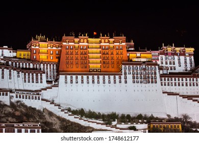 Night Scene of Potala Palace in Lhasa. Potala palace. World Heritage site. Tibet, China.
