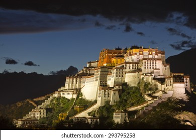 The night scene of Potala Palace in Lhasa city of Tibet.
