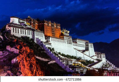 Night Scene of Potala Palace in Lhasa, Tibet Autonomous Region. Former Dalai Lama residence, now is a museum and World Heritage Site.