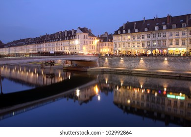 Night scene of Quai Vauban in the city of Besancon (Franche-Comte province in eastern France).
