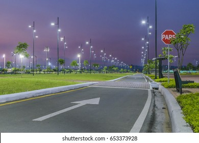 Night scene of samanes park, an urban sports and recreation park located in Guayaquil city, Ecuador