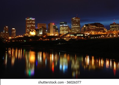 Night scene of the saskatchewan river valley and downtown in city edmonton, alberta, canada.