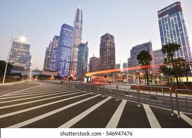 night scene of shenzhen special economic zone,China