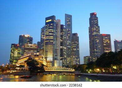night scene of Singapore City at Singapore river.