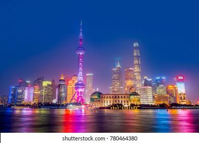 Night scene skyscrapers and skylines in the Bund, Shanghai