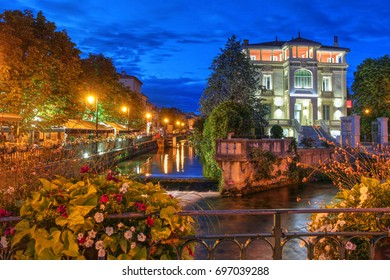 Night scene in the small and charming village of L'Isle-sur-la-Sorgue nearby Avignon in France.