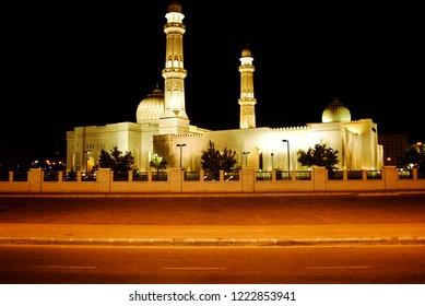 Night scene of the Sultan Qaboos Mosque in Salalah city