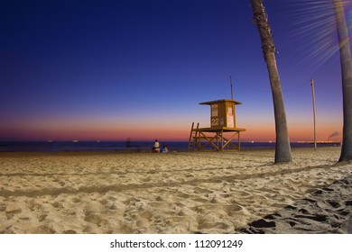 Night scene as sunsets on Southern California beach