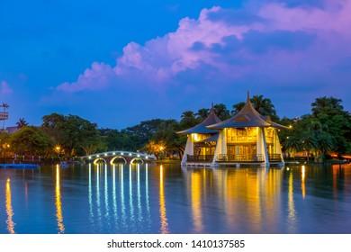Night scene of Taichung in zhongshan park
