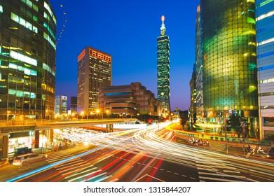 night scene of taipei city in taiwan