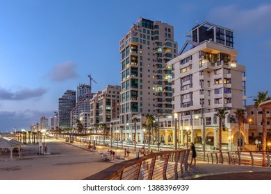 Night scene of Tel Aviv Promenade and the beachfront, Israel.