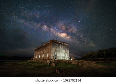 Night scene under the low light contidion, with the Milkyway over the ancient sunken temple, Underwater Temple, Unseen destination in Sangkhlaburi District, Kanchanaburi, Thailand
