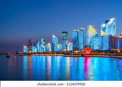 The night scene of urban architectural landscape in Qingdao