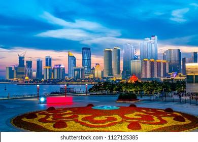 The night scene of urban architectural landscape in Qingdao