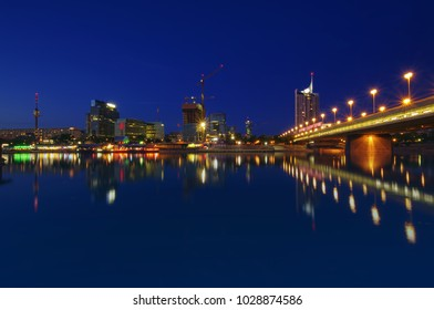 night scene of Vienna city skyline. Austria