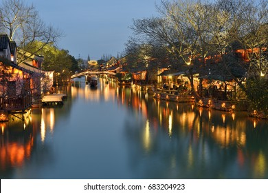 Night scene of Wuzhen. Wuzhen - historic scenic town, part of Tongxiang, located in northern Zhejiang Province, China