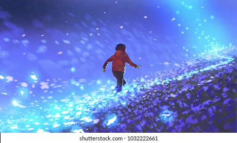 night scenery of the boy running on blue meadow with glowing petal of flowers, digital art style, illustration painting