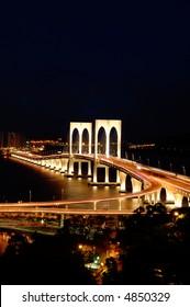 The night scenery of bridge in Macau