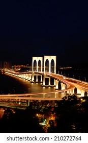 The night scenery of bridge in Macau, China