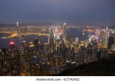 Night scenery of Hong Kong from Victoria Peak