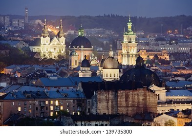 Night scenery of Lvov - Historic center of Lvov city close-up