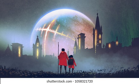 night scenery of man and his daughter looking at mysterious castles against glowing planet, digital art style, illustration painting