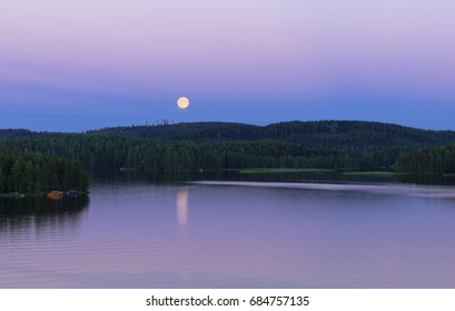 Night scenery with moonlight in july