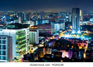 Night Scenery of Singapore in the colored night lighting