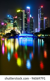 Night Scenery of Singapore's skyscrapers reflected in the water